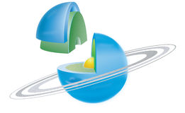 Planet series 7. Illustration of planet cross section (there are nine in series Stock Photos