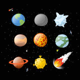 Planet set dark background. Dark space.  Planets of solar system. By having  cartoon style. Earth, Jupiter. Mars and the Sun. falling meteorite. Fireball Royalty Free Stock Photos