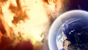Planet with shield in space. Planet with protective shield in burning space. Elements of this image furnished by NASA Stock Photo