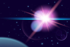 Planet and shine star in dark space. Vector cosmos background Royalty Free Stock Image