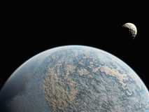 Planet and small moon Royalty Free Stock Photography