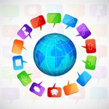 Planet with social speech bubbles Royalty Free Stock Photo