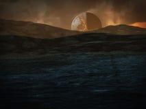 Planet Sonhadra. Digital created scifi scenery of Planet Sonhadra Stock Photo