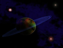 Planet in space. Planet with blue rings in space Stock Image