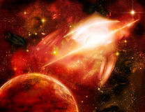 A planet is in space. Of red-orange colors, illusion of motion Stock Images