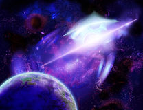 A planet is in space. Of purple and violet tints, illusion of motion Royalty Free Stock Images