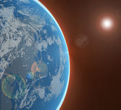 Planet in space. Half view of a planet horizon line with clouds and land masses from a satellite or aerial view royalty free illustration