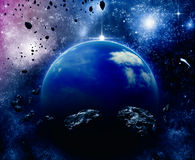 Planet in space. Beautiful blue planet in space with asteroid field Royalty Free Stock Photos