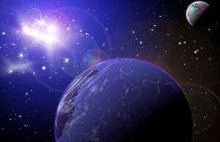 Planet in space. In the star sky of flash, light royalty free illustration