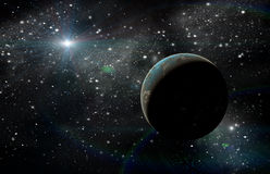 Planet in space. In the star sky of flash, light stock illustration