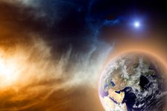 Planet in space. Scientific background - earth in space. Elements of this image furnished by NASA Stock Photography
