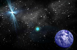 Planet in space. In the star sky of flash, light vector illustration