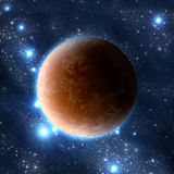 Planet in space. Extrasolar planet on star background Stock Image