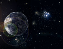 Planet in space. Planet stylized abstract space background Stock Image
