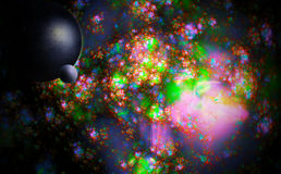 Planet in space. Against the multi-colored galaxy Royalty Free Stock Photos