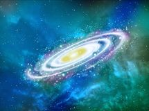 Planet in space around bright stars 3d illustration Stock Photo