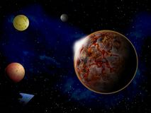 Planet in space around bright stars 3d illustration Royalty Free Stock Image