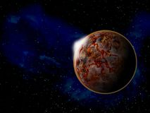 Planet in space around bright stars 3d illustration Stock Photography