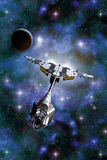 Planet and Space fighter. 3D render science fiction illustration Royalty Free Stock Photo