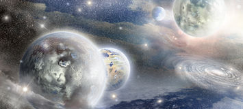 Planet in space illuminated glow stars Royalty Free Stock Images