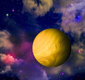 Planet in space. Space landscape with a planet, stars and fogs stock illustration