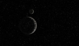 Planet in space. Ilustration of an alien rocky planet in deep space with stars and moon. Black-white view Royalty Free Stock Images