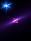 Planet, space, rays of light stock illustration