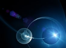Planet, space, rays of light Royalty Free Stock Image