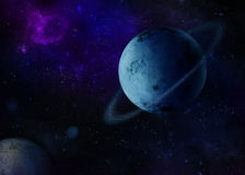 Planet in space. Planet with rings in deep space Royalty Free Stock Photo