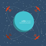 Planet in space with satellites transmit radio. Signals. Global connectivity technologies in the transmission of information. flat design. The orbit of a Royalty Free Stock Image