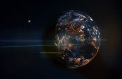 Planet in Space with Stars and Anamorphic Flares Stock Photography