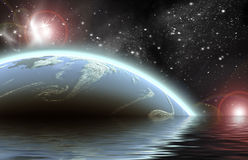 Planet in spacePlanet in space Reflected in water. Planet in space in the star sky of flash, light Royalty Free Stock Images