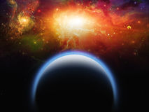 Planet and Star Scape. Blue Planet and Star Scape Stock Photo