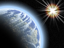 Planet with starburst Royalty Free Stock Photo