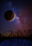 The planet and starry sky Stock Photos