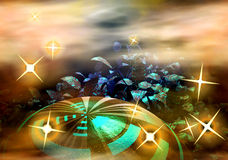 Planet and stars. Abstract creative fantastic image of unknown space objects Royalty Free Stock Photo