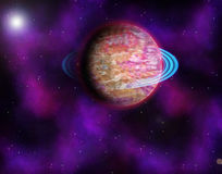 Planet and stars stock image