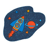 Planet, stars, astronauts, space and rocket. Royalty Free Stock Image