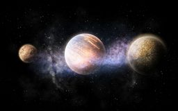 Planet and stars in space. Skyscape and astronomy concept - planet and stars in space Stock Images