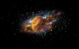Planet and stars in space. Skyscape and astronomy concept - planet and stars in space Stock Photography