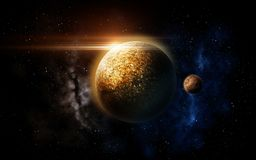 Planet and stars in space Royalty Free Stock Photo