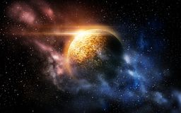 Planet and stars in space. Skyscape and astronomy concept - planet and stars in space Royalty Free Stock Photos