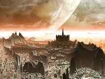 Planet-steigen Sie über futuristische ausländische Hauptstadt Stockfoto