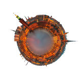 Planet Stockholm isolated on white. Planet Stockholm with the city hall just before sunrise - Isolated on white Royalty Free Stock Photo