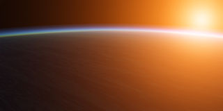 Planet with sun. Royalty Free Stock Photos