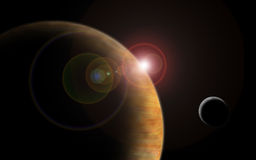 planet with sun flare in deep space Royalty Free Stock Image