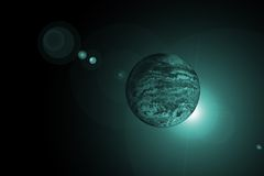 Planet with sunrise. In deep space Stock Image