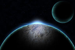 Planet  with sunrise in the space illustration. Royalty Free Stock Image
