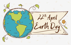 Planet Tag for Earth Day in Doodle Style, Vector Illustration. Beauty view of the planet with a ribbon and greeting message in cartoon style for Earth Day Royalty Free Stock Image