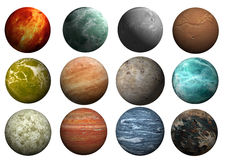 Planet templates. Image of two planets in the starry background Royalty Free Stock Photos